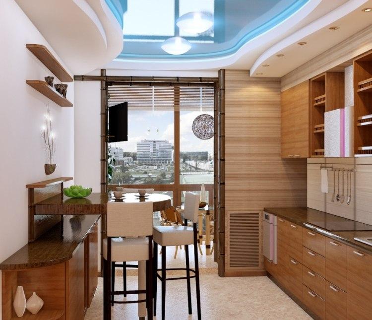 Дизайн для маленькой кухни с балконной дверью