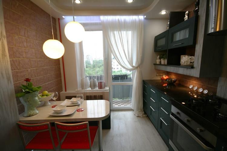 Дизайн кухни с выходом 9 кв метров