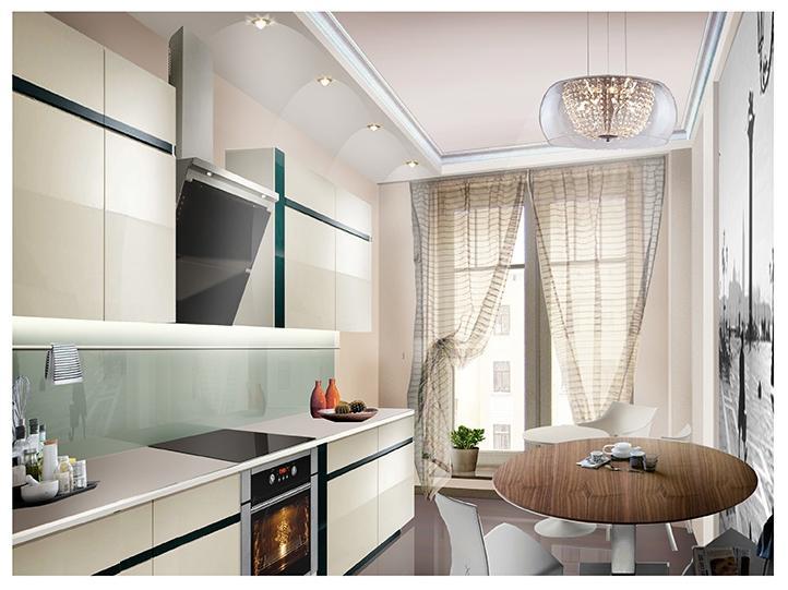 Интерьер кухни с французским окном фото.