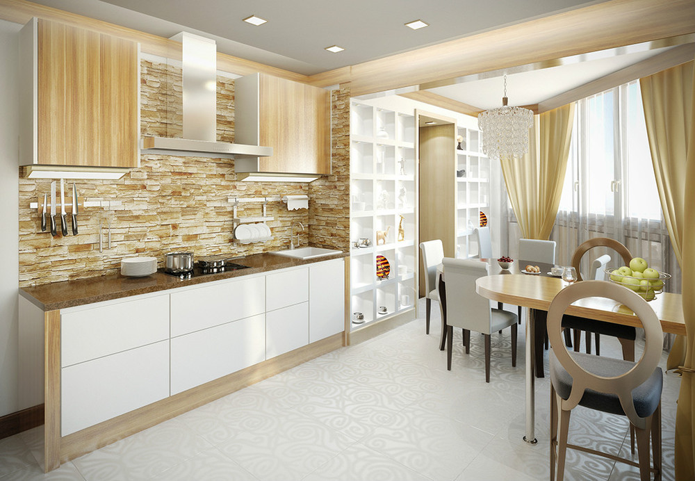 Объединение балкона и кухни, виды объединения балкона и кухн.