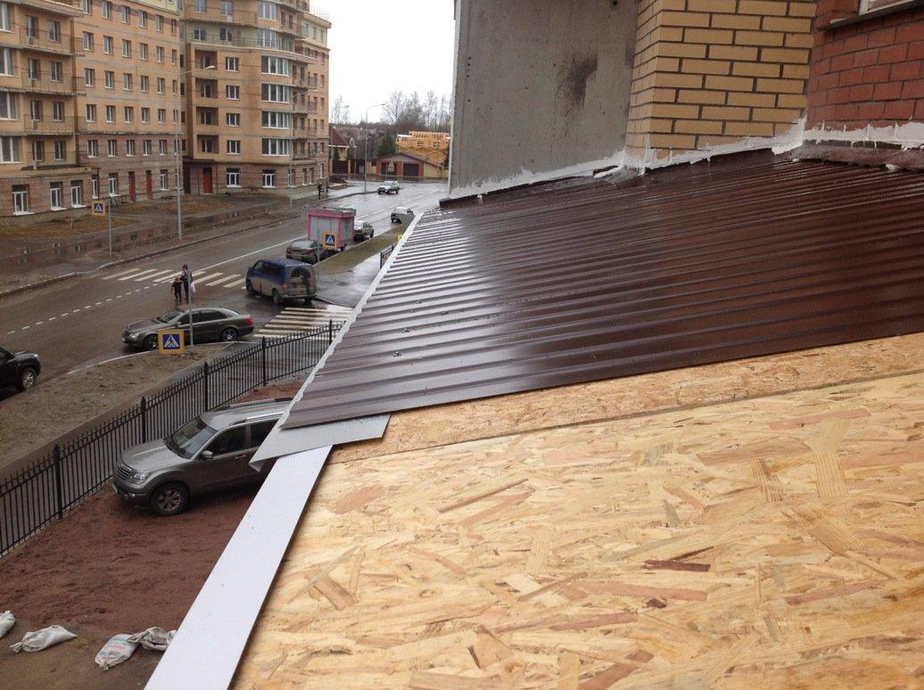 Монтаж крыши над балконом, устройство кровли над балконом, в.