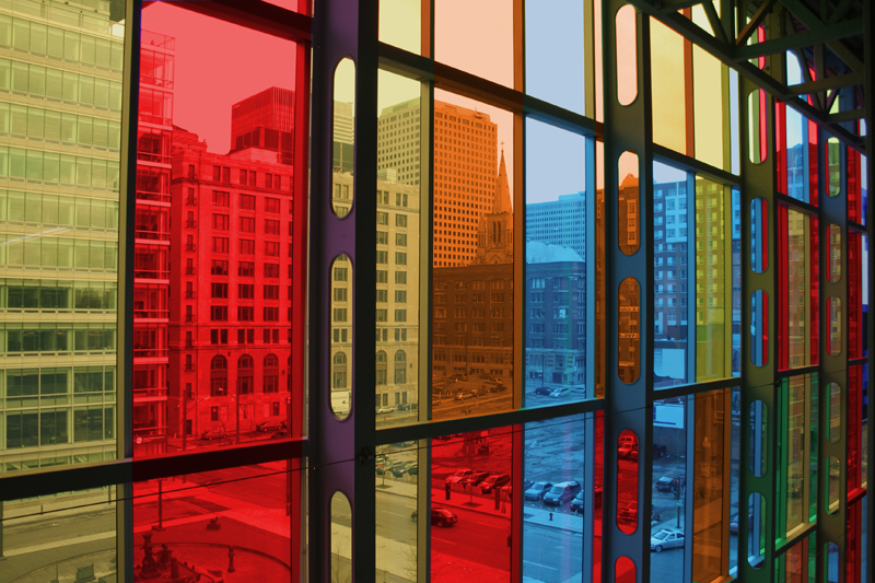 Interior of Palais des congres Montreal. To create a Palais open to the world, the architectural concept of the Palais focuses on the aspects of light and transparency.
