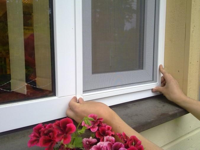 Рис. 1. Москитные сетки на окне ПВХ