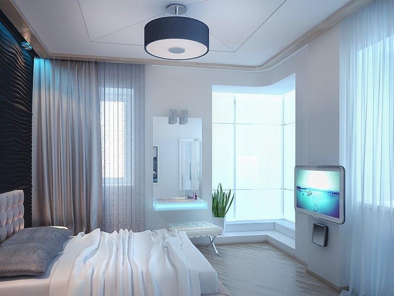 Дизайн угловой комнаты с двумя окнами в